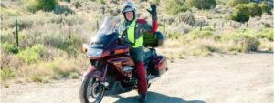Attorney Greg Bagen on his motorcycle