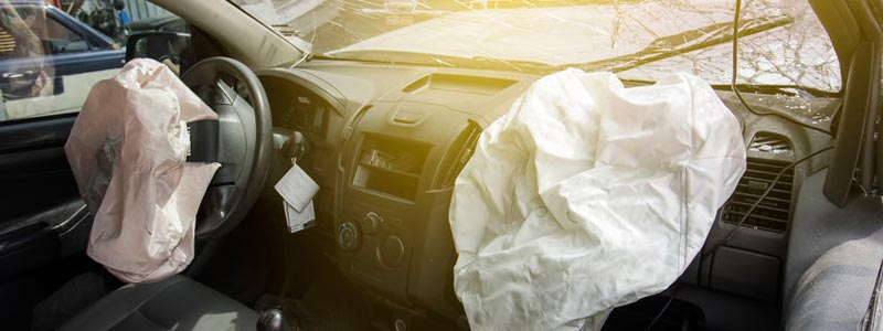 Deployed airbags after an accident